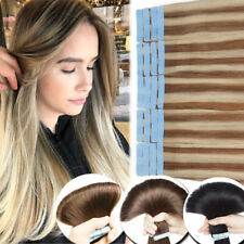 THICK Balayage Tape in 100% Remy Human Hair Extensions Weft Straight Wavy UK