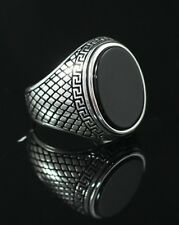 Turkish Handmade Ottoman 925K Sterling Silver Onyx Men's Ring Size 8,9,10,11,12