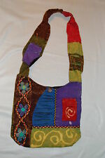 Boho Shoulder Bag PURSE Embroidered Tie Dye Cell Pouch GREEN PURPLE RED AQUA