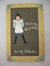 VINTAGE TUCK'S VALENTINE'S POSTCARD BOY ON BLACKBOARD W/ DIALECT  E. CURTIS 1910
