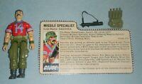 1985 GI Joe Missile Specialist Bazooka v1 Figure w/ File Card *Near Complete