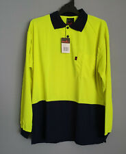 King Gee K54200 Mens Yellow Navy 2 Tone Long Sleeve Spliced Polo Size XL New