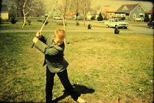 Vtg 35mm American Life Color Photo SLIDE 1961 Boy Golf Golfing Easter Suit car