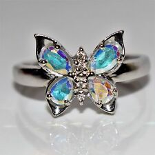 Gorgeous Mercury Mystic Topaz 9ct White gold Butterfly ring size O ~ US 7 1/4