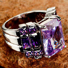 PURPLE AMETHYST 13 STONES HIGHLIGHTS IN SILVER WOMEN'S RING-SIZE 8
