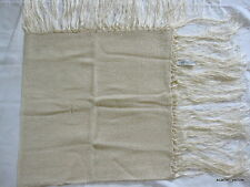 OSCAR DE LA RENTA Ivory Shawl Wrap Scarf Vintage 1980s Fringe Lightweight square
