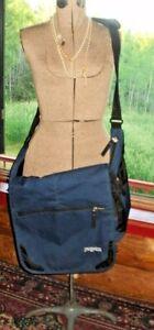 Jansport HUGE Laptop Messenger Shoulder Bag BLUE School Student 19x17x6 Bag