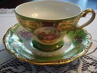 K-  Japan- Pictorial courting couple FRAGONARD DECOR and gold cup / saucer [*16]