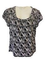 Worthington Stretch Women LARGE Black White RunchedGraphic Short Sleeve Blouse