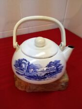 Vtg. Blue/ White Floral Scene Ceramic Tea Pot  w/ Lid Plastic Handle/Knob 10 C.