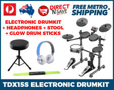 Electronic Drumkit Stool Headphones Glow Sticks Premium Bass Drum Pack TDX15S