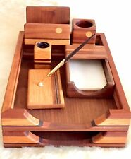 Vintage 7-Piece Handcrafted Multiple Hardwoods Desk Accessories Set
