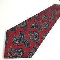 Christian Dior Monsieur Red Blue Paisley Silk Neck Tie All Silk