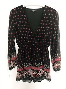 MISSGUIDED 8 Womens Jumpsuit Black Floral S M Dress 38 Summer 10 Wrap Tunic Top