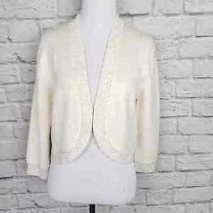 Brooks Brothers Cream Merino Wool Open Front Crop Cardigan Gold Sequin Trim Sz M