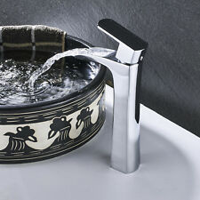 Waterfall Chrome Brass Bathroom Faucet Vanity Sink Mixer Tap Single Handle Hole
