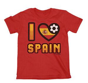 Adult or Kids I LOVE SPAIN Football Top TShirt 2021 Spanish Euro Shipping