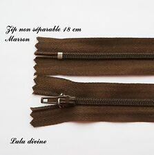 Zip/ Fermeture éclair simple non séparable de 18 cm, Couleur Marron