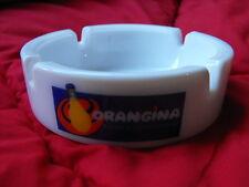 Cendrier publicitaire  Orangina boisson à la pulpe d'orange     Opaline blanche