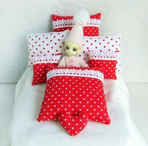 7 miniature red white pillow with polka dots Dollhouse accessory bedroom cushion