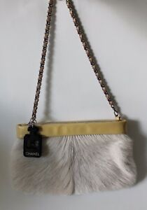 Chanel No 5 Bottle Charm Yellow Patent Leather Fur Small Bag Clutch Chain Strap