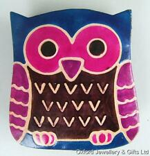 BLUE, PINK & PURPLE OWL COIN PURSE HANDMADE IN LEATHER From TRANSOMNIA