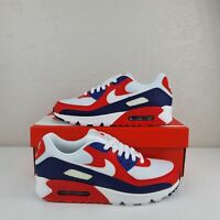 """Nike Air Max 90 """"USA"""" White Red Blue CW5456-100 Running Shoes Mens Size NEW"""