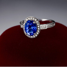 3Ct Oval Cut Blue Tanzanite Diamond Halo Engagement Ring 14K White Gold Finish