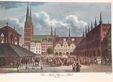 Marketplace in Lubeck, Germany 1820 - Antique Engraving, Color Lithograph