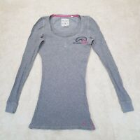 Jack Wills Shirt Women Small Grey Black Pink Duck Spell Out Cotton Top Ladies *