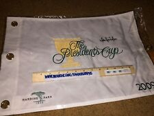 MARK LEISHMAN SIGNED AUTOGRAPHED PRESIDENTS CUP GOLF PIN FLAG TPA GUARANTEE