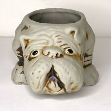 """Vintage Pottery Bulldog Dog Planter Grey with Brown Highlights Puppy 7""""x5"""""""