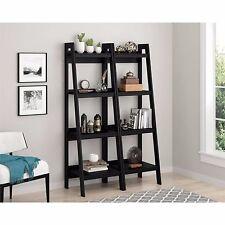 Bookcase Bookshelf Leaning Wall Shelf Ladder Storage Display Furniture Set of 2