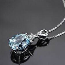 Vintage Chain Women Silver Plated Natural Jewelry Pendant Aquamarine Necklace