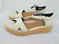TOMS Women's Harper Beige Canvas Cork Wedge Buckle Sandals Size 10