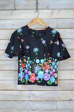 Vintage Black Multi Coloured Floral Kaftan Top (L)
