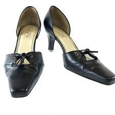 Unisa Women's Shoes Vivien  Black Leather Pumps 6B Brazil Square Toe Heels 2.75