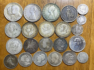 Lot of (22) .835 Fine Junk Silver World Coins, 137 grams = 3.678 troy oz ASW