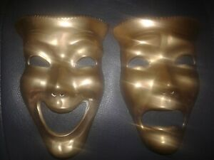 Vintage Solid Brass Harlequin Drama Comedy Wall Mount Masks Mid Century