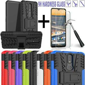 For Nokia 2.4 Case Slim Shockproof Stand Phone Cover + Screen Tempered Glass