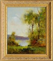 French Framed Oil Painting, Signed by J Reneau, Lake View Impression Landscape