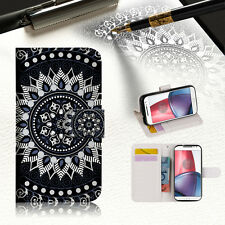Black AZTEC TRIBAL Phone Wallet TPU Case Cover For Motorola Moto C -- A005