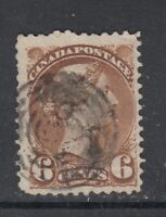 "Canada Scott #39  6 cent yellow brown ""Small Queen""   F"