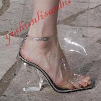 Women Clear Block Heels Peep Toe Roma Sandals Catwalk Transparent Pumps Shoes Sz