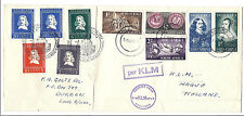 South Africa to Netherlands Fdc Dual Franked 1952 Sc#'s 115-119 & B234-B237