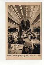 SS ILE DE FRANCE INTERIOR PC Postcard FRENCH Ocean Liner CGT Ship FIRST CLASS