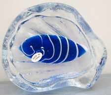 CLEARANCE! BLUE STREAKED SCALLOP SHELL PAPERWEIGHT ocean sea life art glass NIB