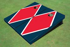 Red And Navy Matching Diamond Custom Cornhole Board