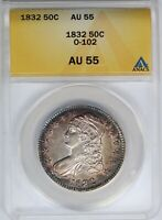 1832 ANACS 50C Capped Bust Half Dollar Small Letters AU55 O-102 Toned