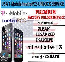 T-Mobile / MetroPCS iPhone Unlock Service X 8+ 8 7+ 7 Premium Express USA